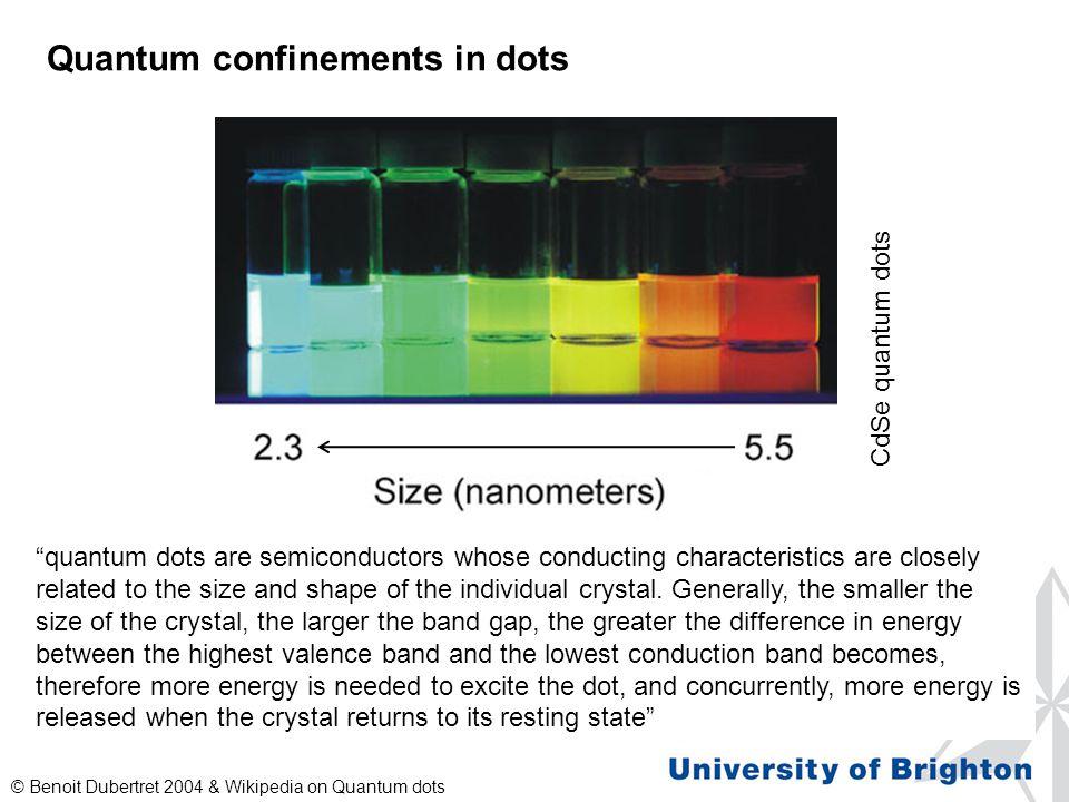 "Quantum confinements in dots © Benoit Dubertret 2004 & Wikipedia on Quantum dots ""quantum dots are semiconductors whose conducting characteristics are"