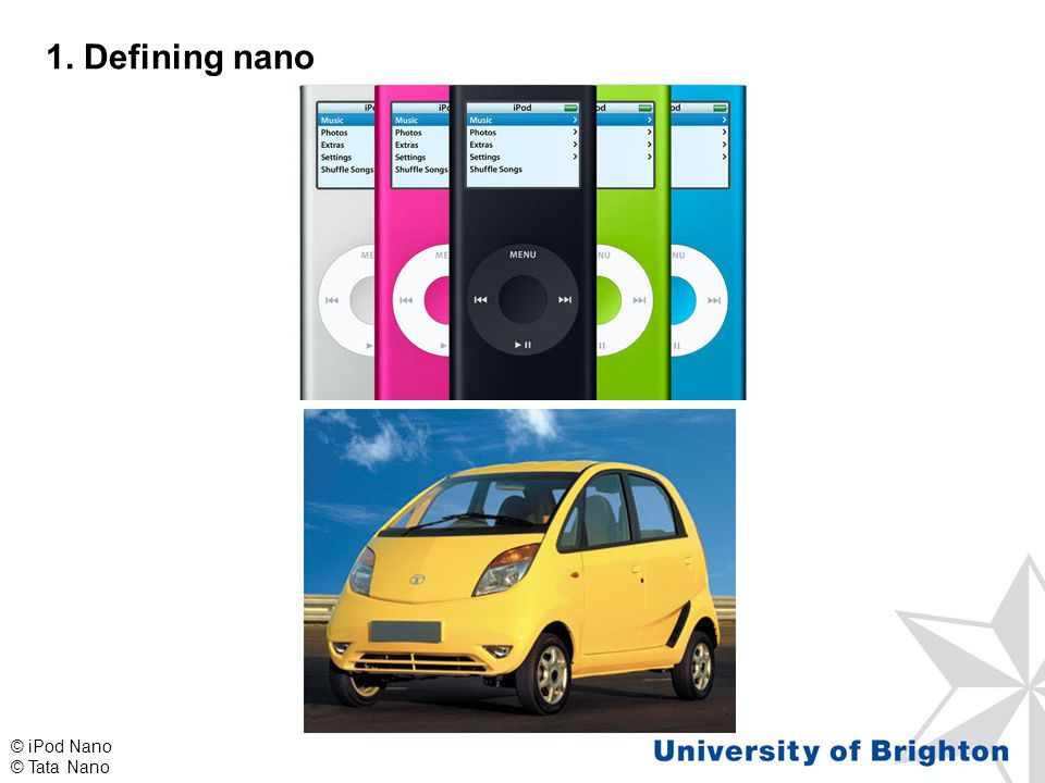1. Defining nano © iPod Nano © Tata Nano