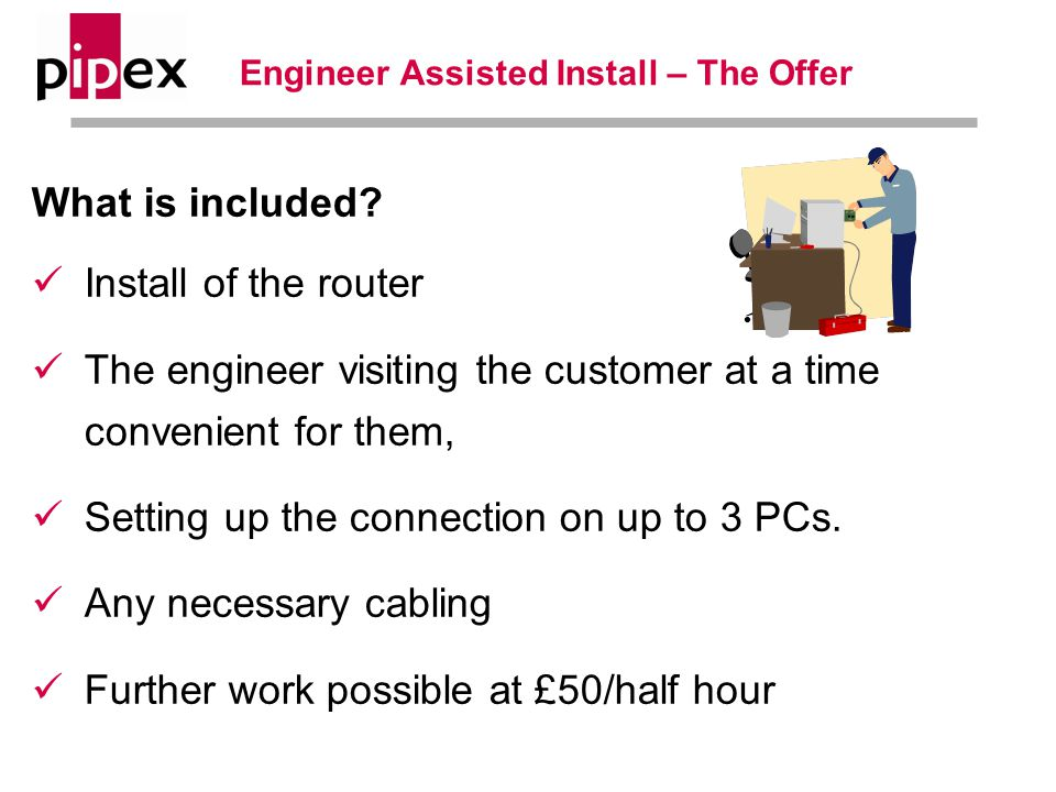Engineer Assisted Install – The Offer What is included.