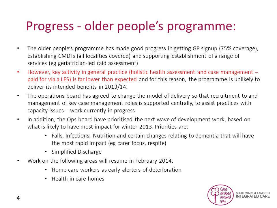 5 Register CreationHHAs Practice sign up Integrated Care Management CMDTs Older people's programme: progress on general practice interventions (latest data = April) (Lambeth figures are generally lower than Southwark) Lambeth - 69%, Southwark 78% Lambeth - 24%, Southwark 32% Lambeth - 78, Southwark 65 Lambeth - 8, Southwark 20Lambeth - 10, Southwark 9