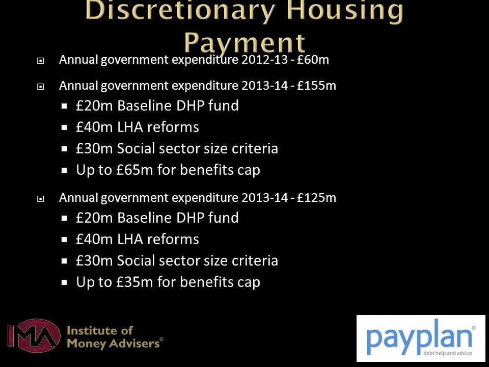  Annual government expenditure 2012-13 - £60m  Annual government expenditure 2013-14 - £155m  £20m Baseline DHP fund  £40m LHA reforms  £30m Social sector size criteria  Up to £65m for benefits cap  Annual government expenditure 2013-14 - £125m  £20m Baseline DHP fund  £40m LHA reforms  £30m Social sector size criteria  Up to £35m for benefits cap