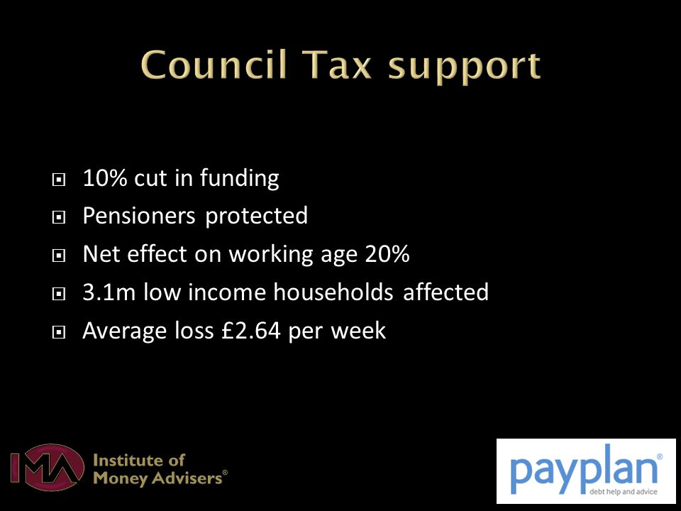  10% cut in funding  Pensioners protected  Net effect on working age 20%  3.1m low income households affected  Average loss £2.64 per week