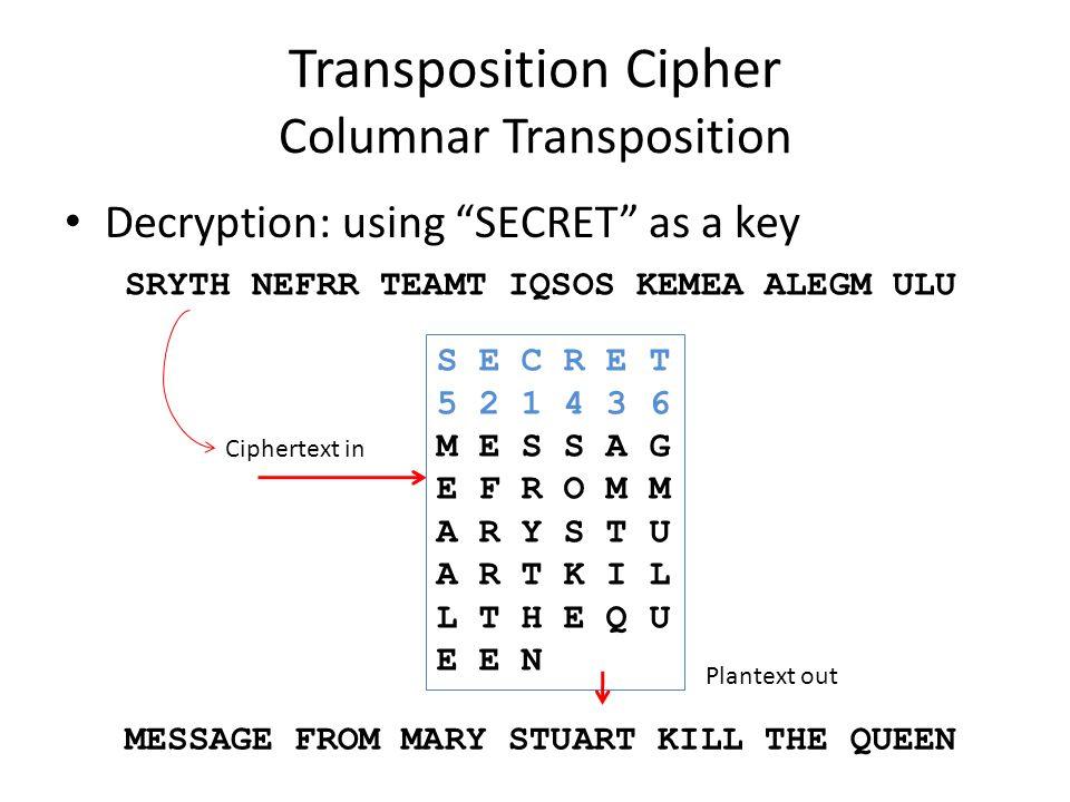 "Transposition Cipher Columnar Transposition Decryption: using ""SECRET"" as a key SRYTH NEFRR TEAMT IQSOS KEMEA ALEGM ULU Ciphertext in S E C R E T 5 2"