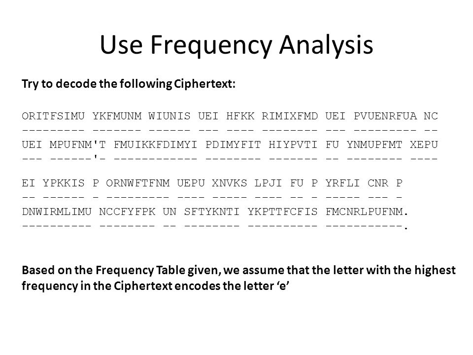 Use Frequency Analysis Try to decode the following Ciphertext: ORITFSIMU YKFMUNM WIUNIS UEI HFKK RIMIXFMD UEI PVUENRFUA NC --------- ------- ------ --