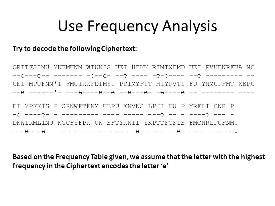 Use Frequency Analysis Try to decode the following Ciphertext: ORITFSIMU YKFMUNM WIUNIS UEI HFKK RIMIXFMD UEI PVUENRFUA NC --e---e-- ------- -e--e- --