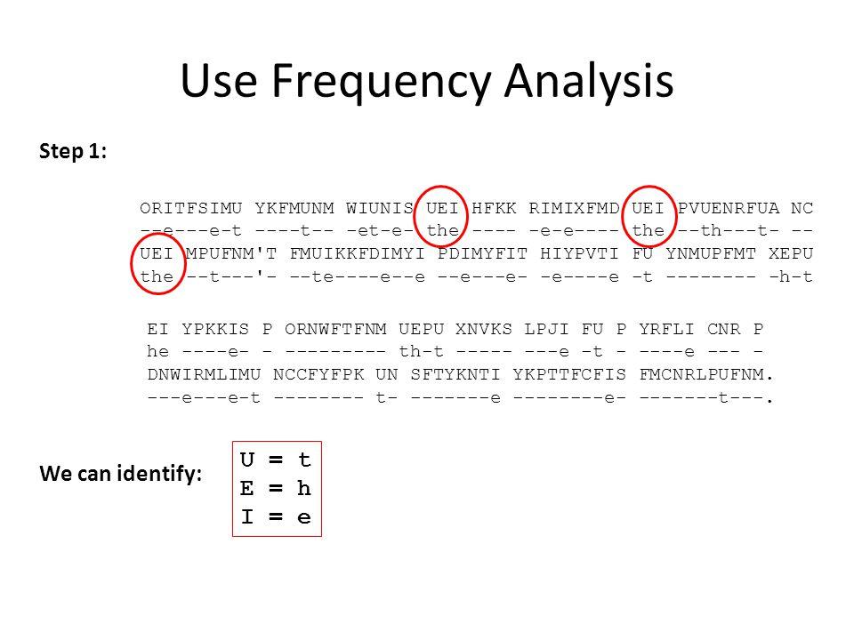Use Frequency Analysis Step 1: ORITFSIMU YKFMUNM WIUNIS UEI HFKK RIMIXFMD UEI PVUENRFUA NC --e---e-t ----t-- -et-e- the ---- -e-e---- the --th---t- --
