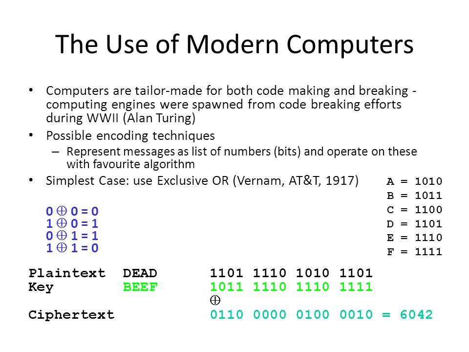 The Use of Modern Computers Computers are tailor-made for both code making and breaking - computing engines were spawned from code breaking efforts du