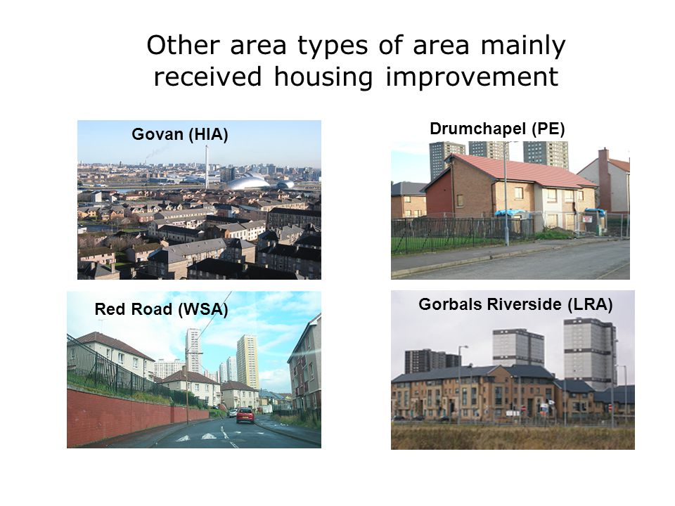 Red Road (WSA) Drumchapel (PE) Govan (HIA) Other area types of area mainly received housing improvement Gorbals Riverside (LRA)