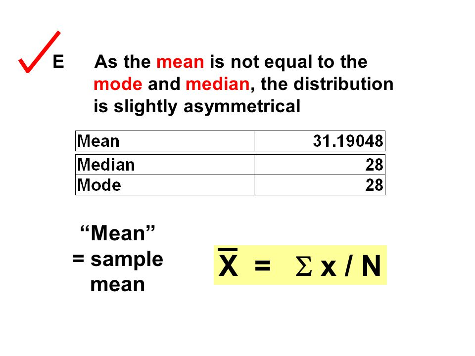 "E As the mean is not equal to the mode and median, the distribution is slightly asymmetrical ""Mean"" = sample mean X =  x / N"