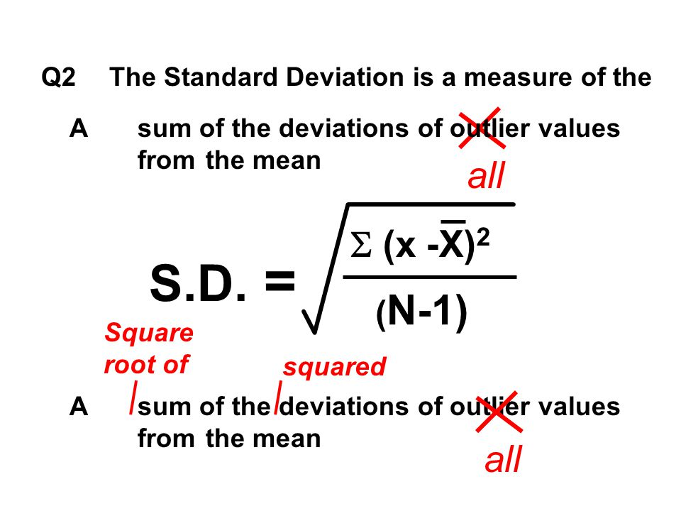 all squared Q2The Standard Deviation is a measure of the Asum of the deviations of outlier values from the mean S.D. =  (x -X) 2 ( N-1) Square root