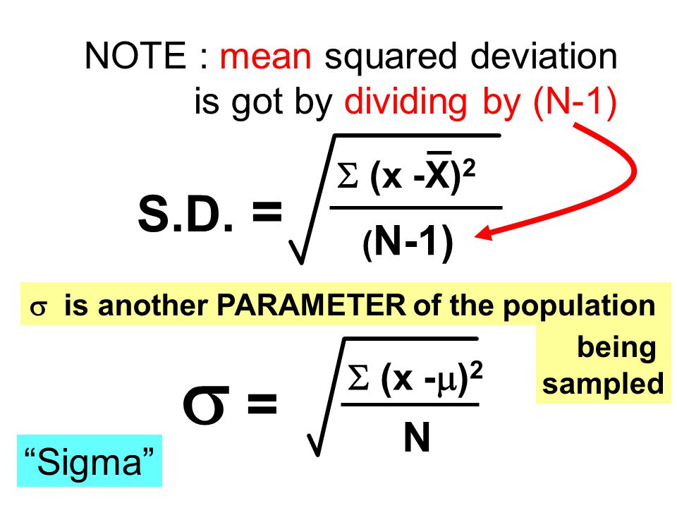 "S.D. =  (x -X) 2 ( N-1) NOTE : mean squared deviation is got by dividing by (N-1)  =  (x -  ) 2 N ESTIMATES the 'true' standard deviation ""Sigma"