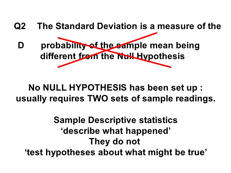 Q2The Standard Deviation is a measure of the Dprobability of the sample mean being different from the Null Hypothesis No NULL HYPOTHESIS has been set