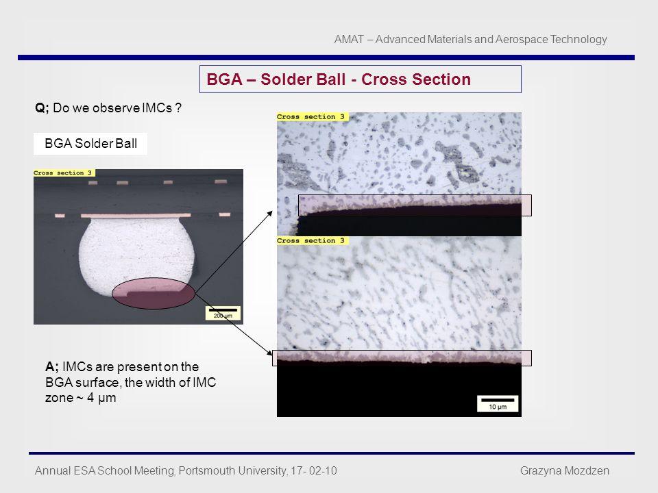 Annual ESA School Meeting, Portsmouth University, 17- 02-10 Grazyna Mozdzen AMAT – Advanced Materials and Aerospace Technology BGA – Solder Ball - Cro