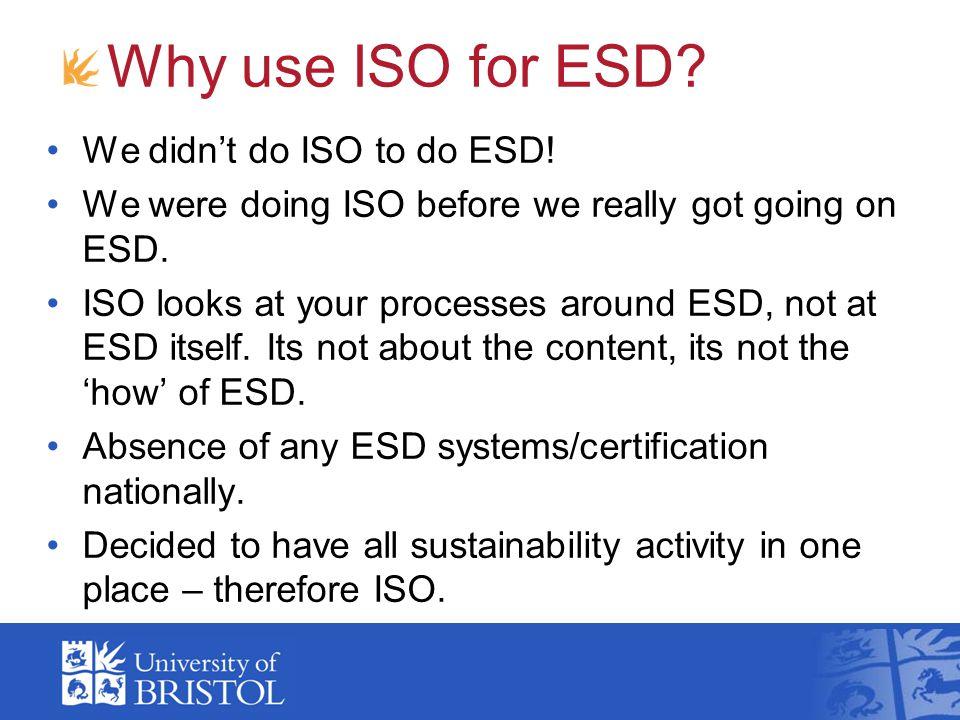 Why use ISO for ESD. We didn't do ISO to do ESD.