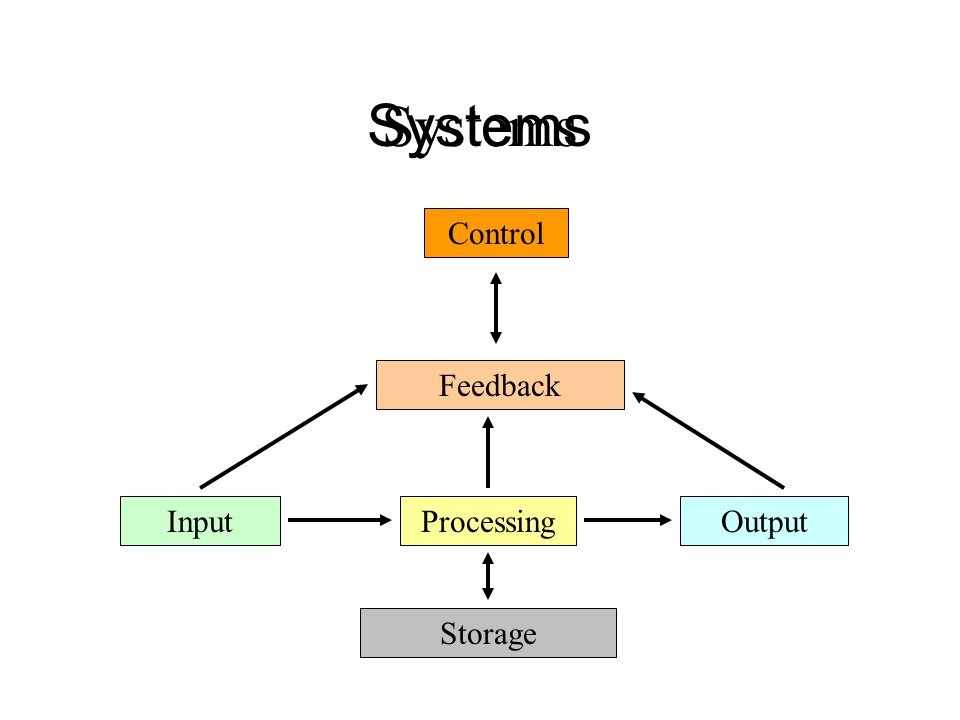 Systems InputProcessingOutput Feedback Control Storage