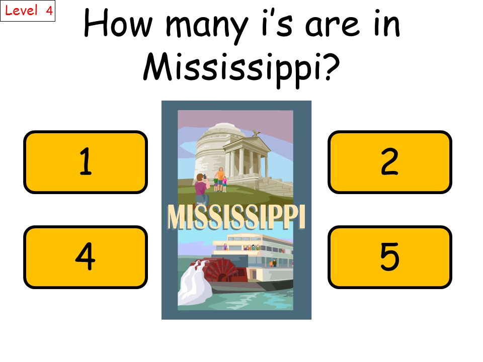 How many i's are in Mississippi Level