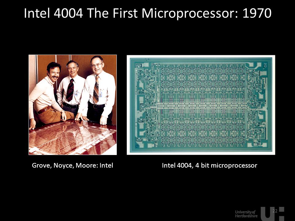 Intel 4004 The First Microprocessor: 1970 22 Grove, Noyce, Moore: IntelIntel 4004, 4 bit microprocessor