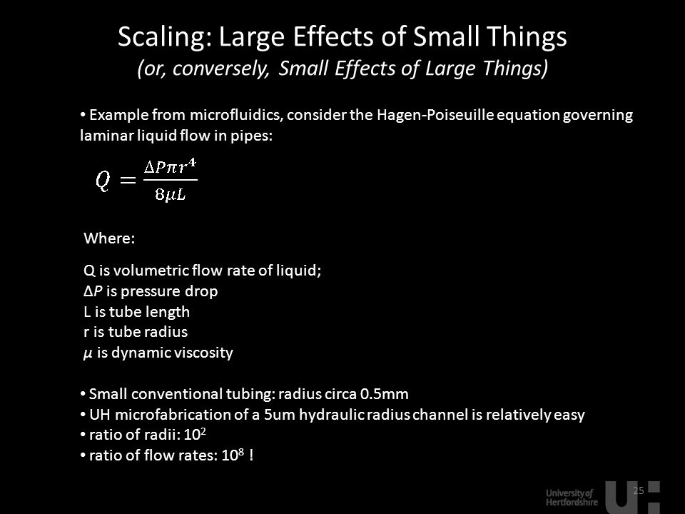 Scaling: Large Effects of Small Things (or, conversely, Small Effects of Large Things) 25 Example from microfluidics, consider the Hagen-Poiseuille eq