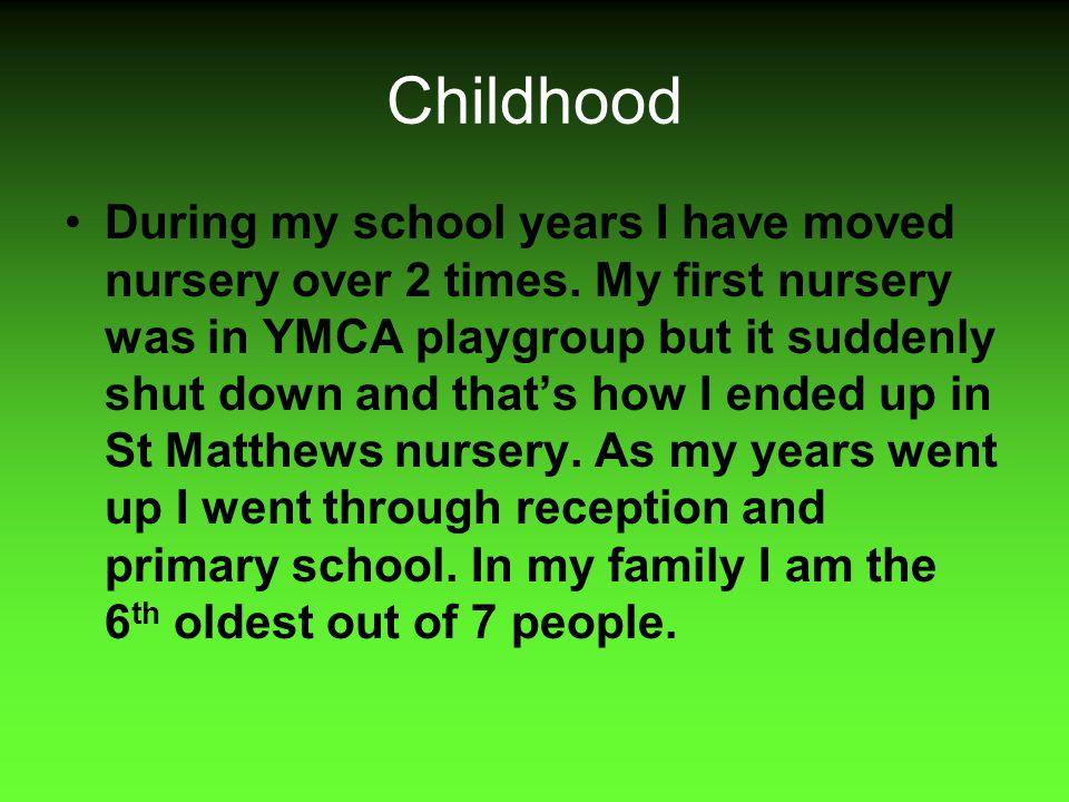 Present day Currently I am a 10 year old girl one month away from being 11.Class 6tw is the class which I'm in although we do lots of big writes I have made lots of new friends: which are Farah, Faheema, Ammarah and the lovely Aysha.
