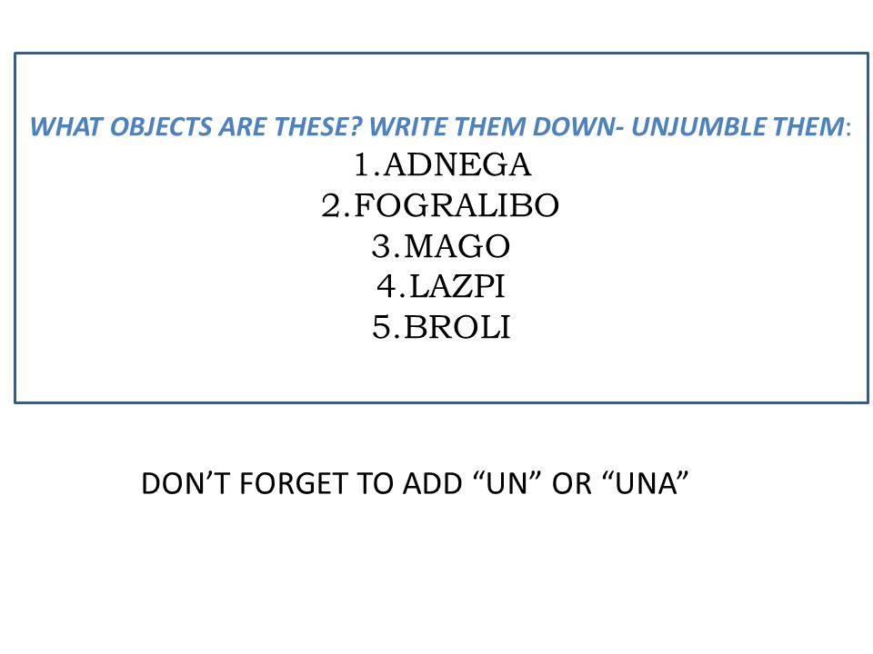 "DON'T FORGET TO ADD ""UN"" OR ""UNA"" WHAT OBJECTS ARE THESE? WRITE THEM DOWN- UNJUMBLE THEM: 1.ADNEGA 2.FOGRALIBO 3.MAGO 4.LAZPI 5.BROLI"