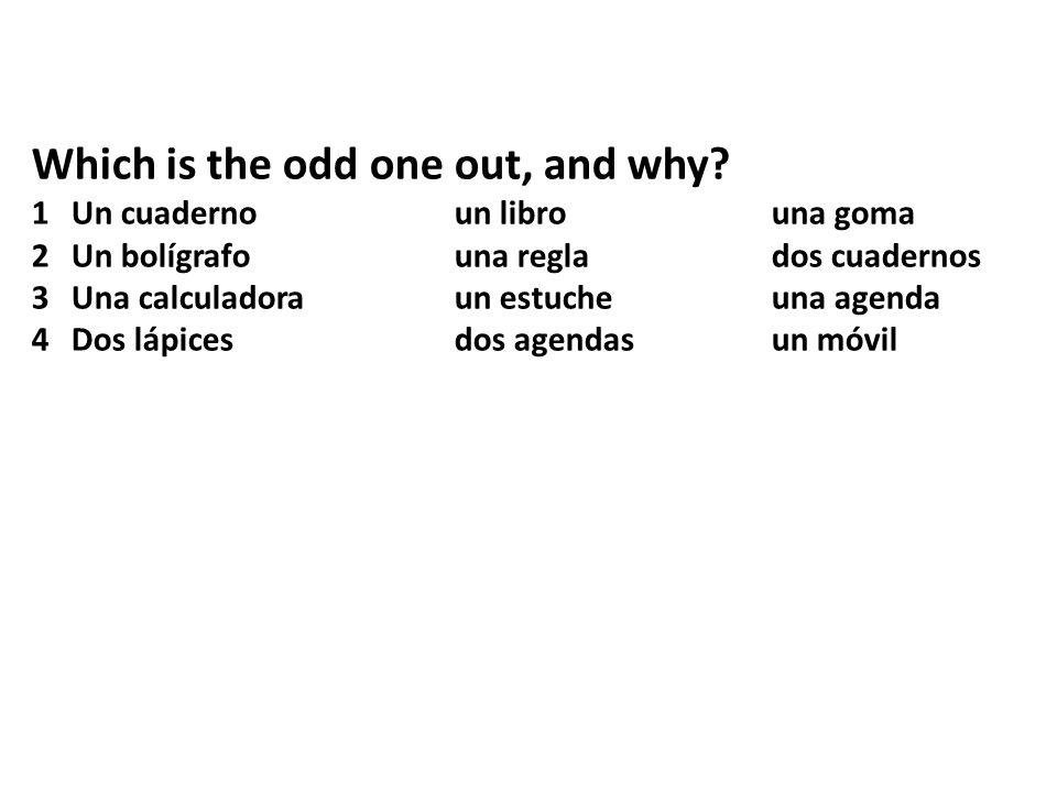 Which is the odd one out, and why? 1Un cuadernoun librouna goma 2Un bolígrafouna reglados cuadernos 3Una calculadoraun estucheuna agenda 4Dos lápicesd