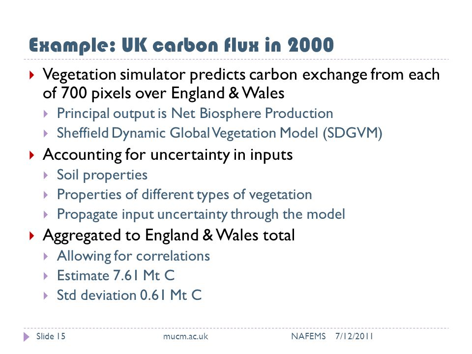 Example: UK carbon flux in 2000 7/12/2011mucm.ac.uk NAFEMSSlide 15  Vegetation simulator predicts carbon exchange from each of 700 pixels over England & Wales  Principal output is Net Biosphere Production  Sheffield Dynamic Global Vegetation Model (SDGVM)  Accounting for uncertainty in inputs  Soil properties  Properties of different types of vegetation  Propagate input uncertainty through the model  Aggregated to England & Wales total  Allowing for correlations  Estimate 7.61 Mt C  Std deviation 0.61 Mt C