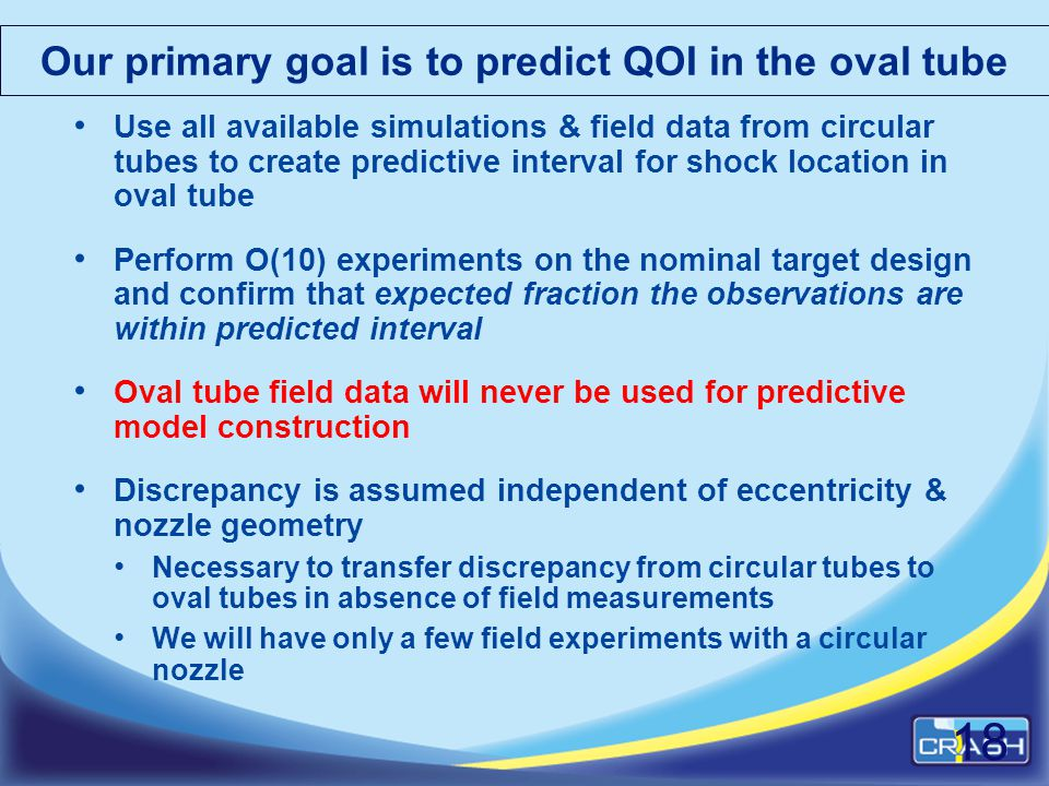 Our primary goal is to predict QOI in the oval tube Use all available simulations & field data from circular tubes to create predictive interval for s
