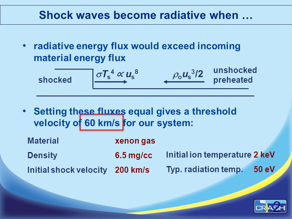 Shock waves become radiative when … radiative energy flux would exceed incoming material energy flux Setting these fluxes equal gives a threshold velo