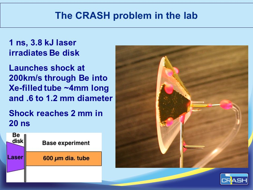The CRASH problem in the lab 1 ns, 3.8 kJ laser irradiates Be disk Launches shock at 200km/s through Be into Xe-filled tube ~4mm long and.6 to 1.2 mm