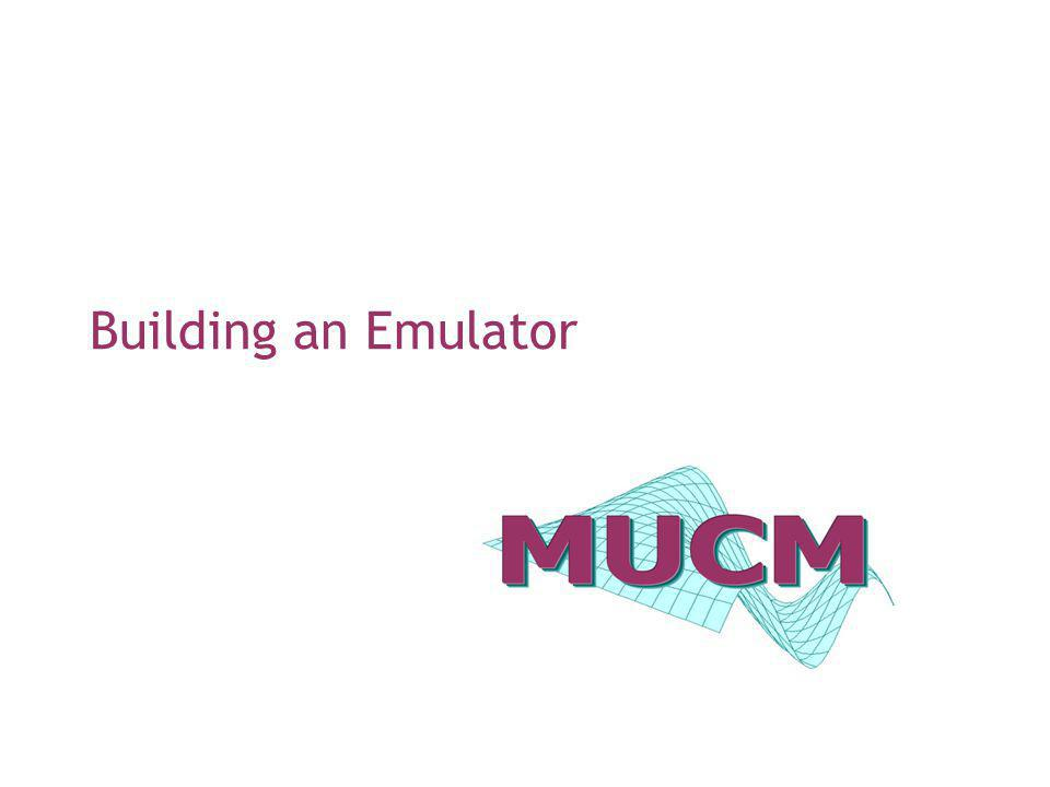 EGU short course – session 212 Step 3: Building the emulator In deciding on the structure of the emulator we have many choices to make: the mean function the covariance function the prior specifications There are no universal solutions here, so judgement and validation play an important role