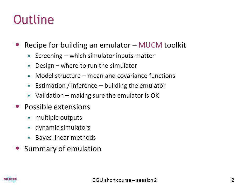 The 'standard' problem The MUCM toolkit recipe www.mucm.ac.uk