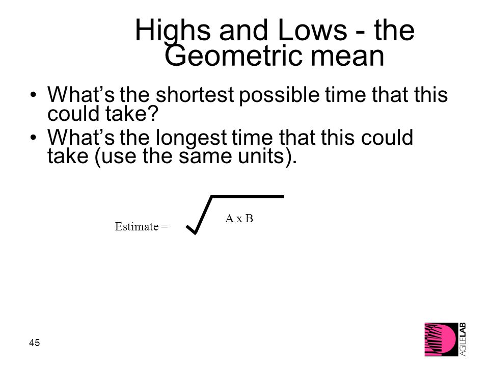 45 Highs and Lows - the Geometric mean What's the shortest possible time that this could take.