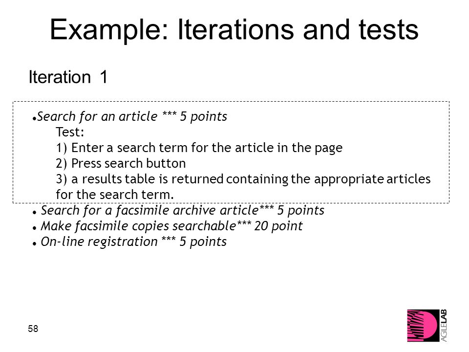 58 Example: Iterations and tests Iteration 1 Search for an article *** 5 points Test: 1) Enter a search term for the article in the page 2) Press search button 3) a results table is returned containing the appropriate articles for the search term.