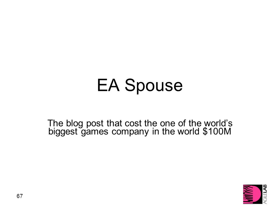 67 EA Spouse The blog post that cost the one of the world's biggest games company in the world $100M