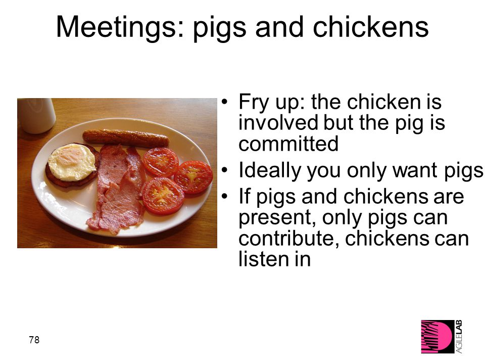 78 Meetings: pigs and chickens Fry up: the chicken is involved but the pig is committed Ideally you only want pigs If pigs and chickens are present, only pigs can contribute, chickens can listen in