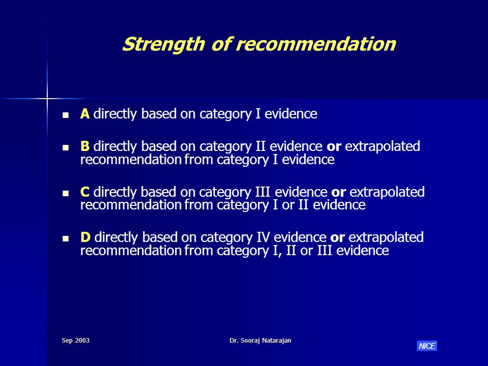 Sep 2003Dr. Sooraj Natarajan Strength of recommendation A directly based on category I evidence B directly based on category II evidence or extrapolat