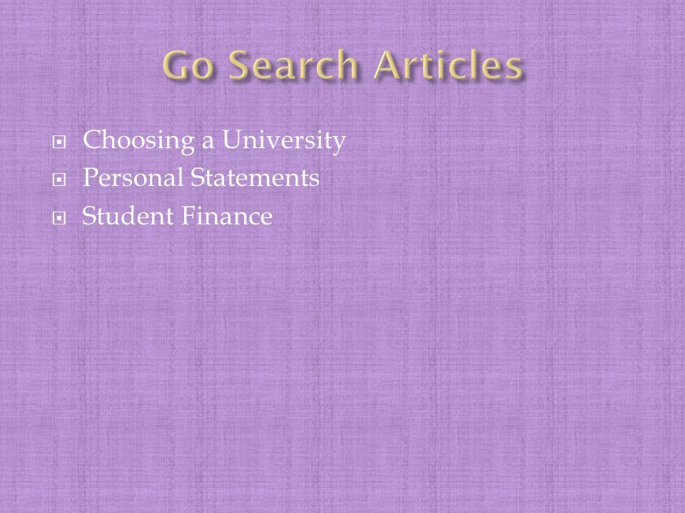  Choosing a University  Personal Statements  Student Finance