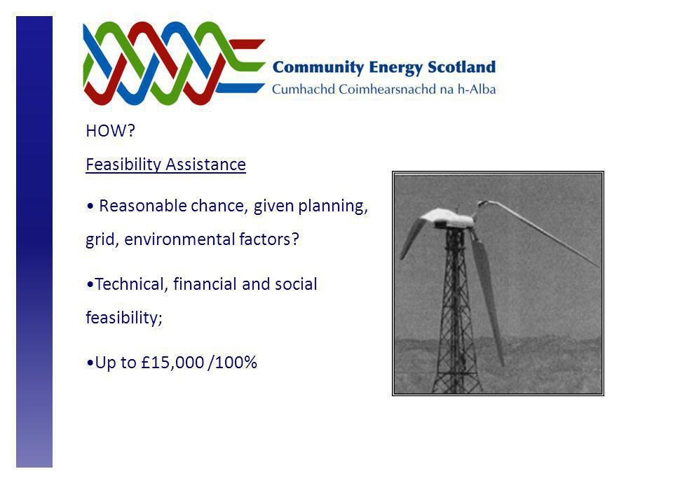HOW. Feasibility Assistance Reasonable chance, given planning, grid, environmental factors.