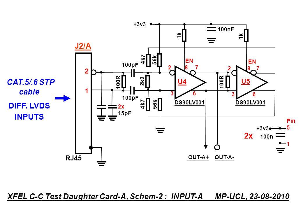 DS90LV001 4k7 100R 2k2 100R 4k7 OUT-B+ OUT-B- DS90LV001 100pF EN 2 8 7 U6 3 6 EN 2 8 7 U7 3 6 1k +3v3 Pin 5 1 2x 100n RJ45 5454 XFEL C-C Test Daughter Card-A, Schem-3 : INPUT-B MP-UCL, 23-08-2010 CAT.5/.6 STP cable DIFF.