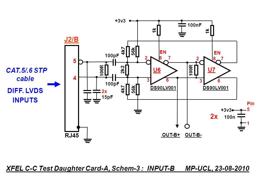 DS90LV001 4k7 100R 2k2 100R 4k7 OUT-B+ OUT-B- DS90LV pF EN U6 3 6 EN U k +3v3 Pin 5 1 2x 100n RJ XFEL C-C Test Daughter Card-A, Schem-3 : INPUT-B MP-UCL, CAT.5/.6 STP cable DIFF.