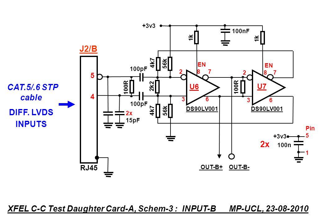 DS90LV001 4k7 100R 2k2 100R 4k7 OUT-C+ OUT-C- DS90LV001 100pF EN 2 8 7 U8 3 6 EN 2 8 7 U9 3 6 1k +3v3 Pin 5 1 2x 100n RJ45 8787 XFEL C-C Test Daughter Card-A, Schem-4 : INPUT-C MP-UCL, 23-08-2010 CAT.5/.6 STP cable DIFF.
