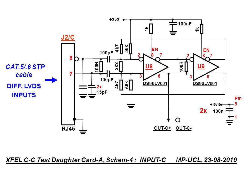 100R OUT-D+ OUT-D- DS90LV001 EN 2 8 7 U10 3 6 1k +3v3 Pin 5 1 +3v3 100n RJ45 6363 XFEL C-C Test Daughter Card-A, Schem-5 : INPUT-D MP-UCL, 23-08-2010 CAT.5/.6 STP cable DIFF.