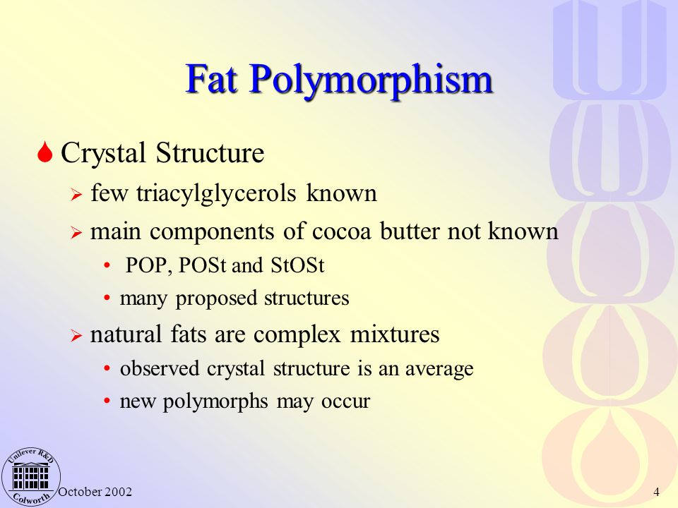 October 20024 Fat Polymorphism  Crystal Structure  few triacylglycerols known  main components of cocoa butter not known POP, POSt and StOSt many proposed structures  natural fats are complex mixtures observed crystal structure is an average new polymorphs may occur