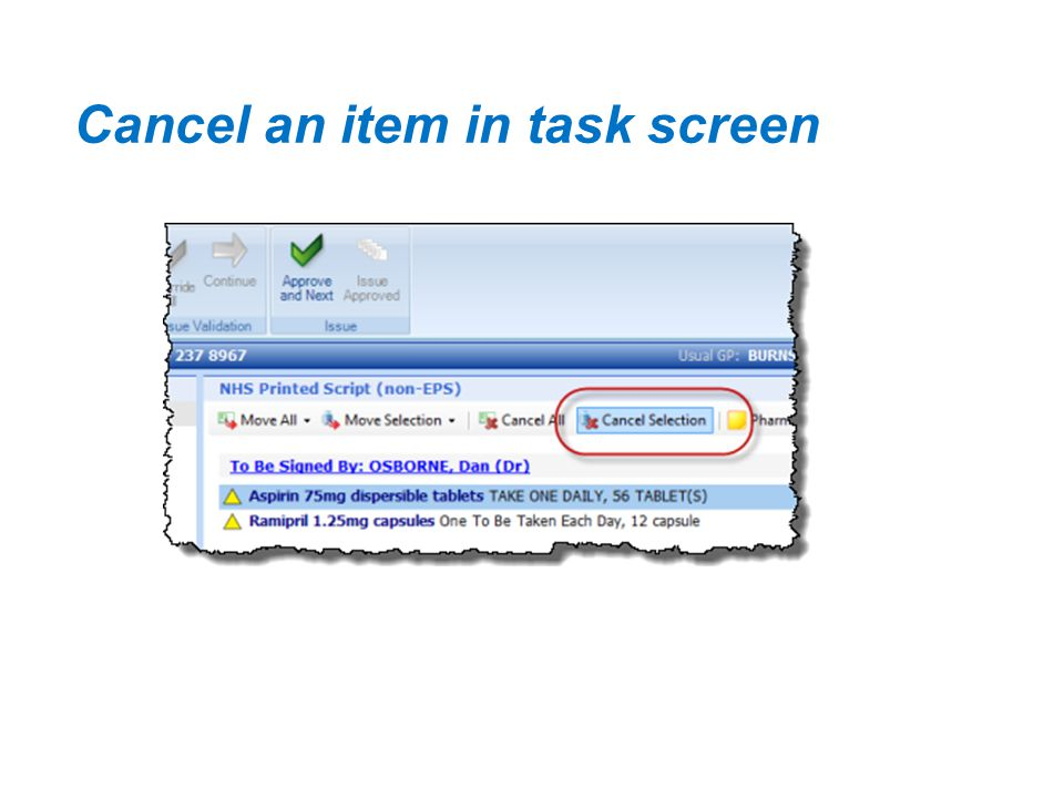 Cancel an item in task screen