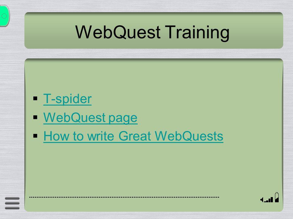 WebQuest Training  T-spider T-spider  WebQuest page WebQuest page  How to write Great WebQuests How to write Great WebQuests
