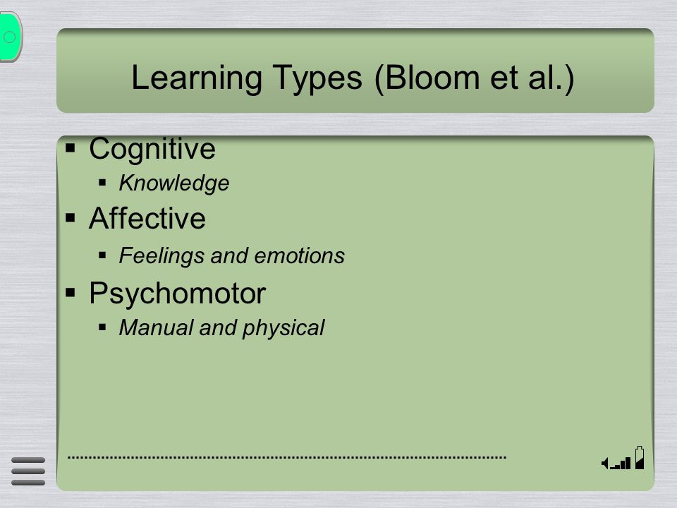 Learning Types (Bloom et al.)  Cognitive  Knowledge  Affective  Feelings and emotions  Psychomotor  Manual and physical