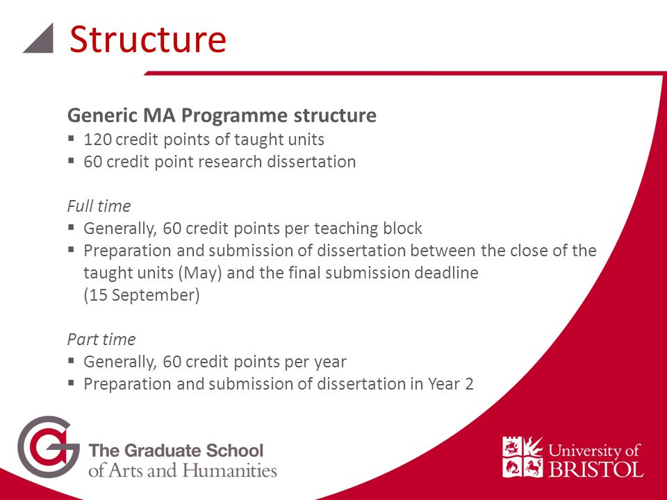 Structure Generic MA Programme structure  120 credit points of taught units  60 credit point research dissertation Full time  Generally, 60 credit points per teaching block  Preparation and submission of dissertation between the close of the taught units (May) and the final submission deadline (15 September) Part time  Generally, 60 credit points per year  Preparation and submission of dissertation in Year 2
