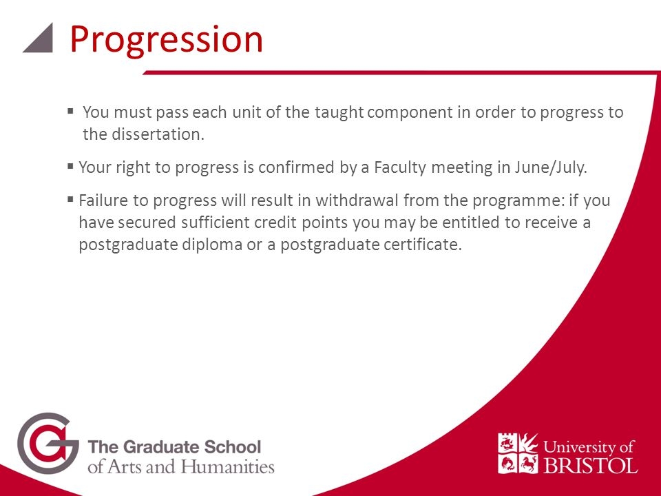 Progression  You must pass each unit of the taught component in order to progress to the dissertation.