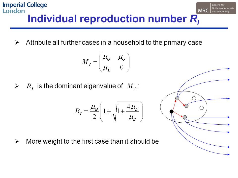 Individual reproduction number R I  Attribute all further cases in a household to the primary case  is the dominant eigenvalue of :  More weight to the first case than it should be