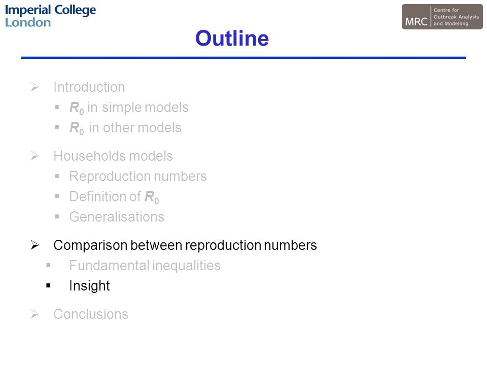 Outline  Introduction  R 0 in simple models  R 0 in other models  Households models  Reproduction numbers  Definition of R 0  Generalisations  Comparison between reproduction numbers  Fundamental inequalities  Insight  Conclusions